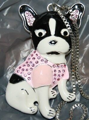 Adorable Boston Terrier in Pink Rhinestone Sweater Silver Tone Necklace Dog K-9