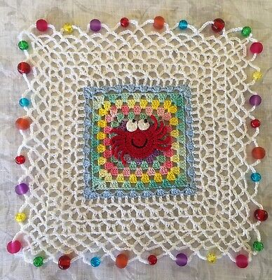 Handmade Crochet Milk Jug Cover - Crab Granny Square - Multicolour Glass Beads