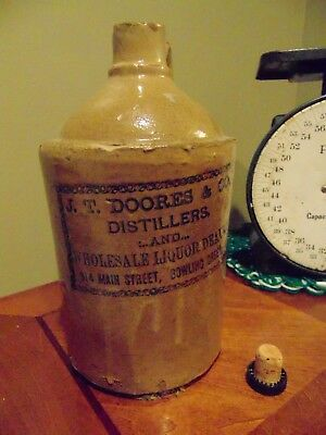 J.T. DOORES & CO.  DISTILLERS, Pottery Whiskey Jug,  BOWLING GREEN,  Kentucky