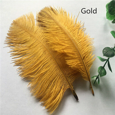 10pcs Beautiful Gold natural ostrich feathers 6-8 inches / 15-20 cm