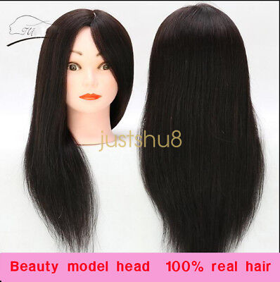 Human Hair Training Head Doll Mannequin Hairdressing Practice100% Real Clamp UK