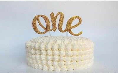 ONE Cake Topper First 1st Birthday Party Gold Glitter Foam Topper