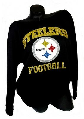 Pittsburgh Steelers Football Black ScoopNeck RawedgeTerry Lt.Wt.Jersey 3/4 Slv!