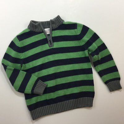 Hanna Andersson Size 110 Boys Green & Navy Striped Sweater US 5