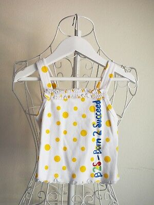 """""""Born 2 Succeed"""" Size 00 - Girls Summer Top White w/ Yellow Dots - BNWT! Bargain"""