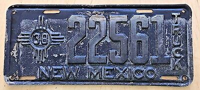 """1938 New Mexico Truck License Plate """" 22561 """" Nm 38"""