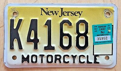 "1997 New Jersey Motorcycle Cycle License Plate "" K 4168 "" Nj 97 "" Bike"