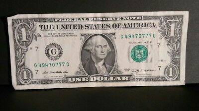 $1 One Dollar Bill 2009 Lucky Triple 777 Over Ink Fancy Serial Number 49470777