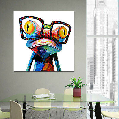 Modern Abstract Huge Wall Art Oil Painting on Canvas : Glasses Frog Frameless