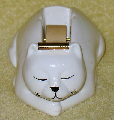 Vintage White Kitty Scotch Tape Dispenser