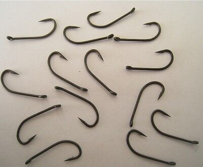 Teflon Coated Carp Hooks, D-Rig Long Shank Hooks,Barbed and Barbless,sizes QTYs