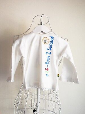 """""""Born 2 Succeed"""" Size 0 Long Sleeved Girls White Frill Top BNWT! Bargain!"""
