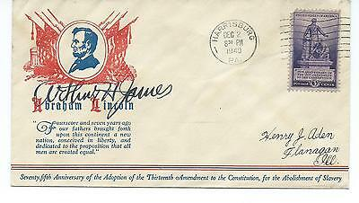 Arthur James Governor Of Pennsylvania Autograph On Lincoln 13Th Amendment Cover