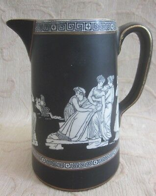antique 1900 PRATTWARE matt black porcelain OLD GREEK 14.5cm JUG greek mythology