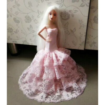 Wedding Gown For Barbie Doll Evening Strapless Dress Gauze Lace Clothes Pink