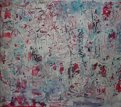 Vintage Abstract Painting Signed Lee Krasner,  Modern Old 20th Century Art