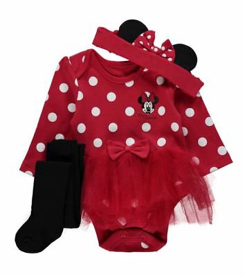 NEW Minnie Mouse Fancy Dress Baby Girl Tutu Babygrow Bodysuit Romper with tights