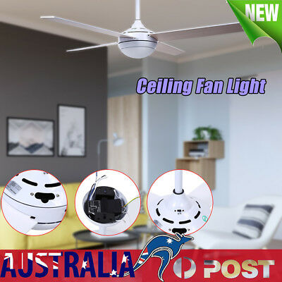 52 Inch 4 Blades Ceiling Fan with Light and Remote Control in White Living Room