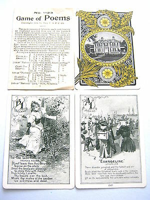 ANTIQUE PLAYING CARDS GAME OF POEMS 1898 USPC Co COMPLETE 52 WIDE + RULES + BOX