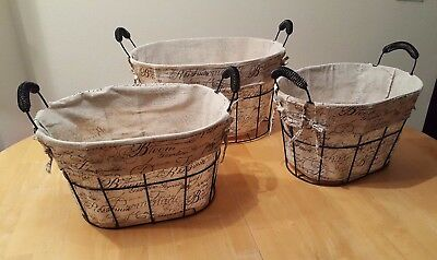 Ordinaire Vintage Wire Storage Basket Removable Canvas Linen Printed Fabric Oval Set  Of 3