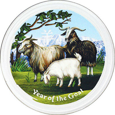 Australia 2015 1$ Year of the Goat colored 1 oz UNC Silver Coin