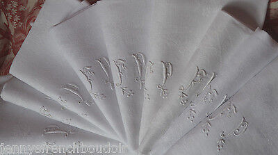Antique French pure linen FP monogrammed damask table napkins, hand embroidered
