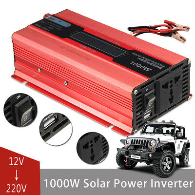 2000W Car LED Power Inverter Converter DC 12V To AC 220V 4 USB Ports Charger
