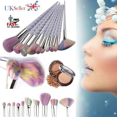 10PCS Unicorn Thread MakeUp Brushes Set Face Concealer Foundation Powder Blusher