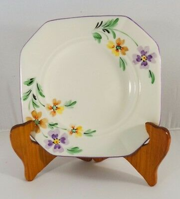 Vintage Tuscan plant Art Deco bone china Saucer Square Side plate c1930 England