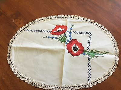 Hand Embroidered, Crocheted Edge Doiley - Red Flowers
