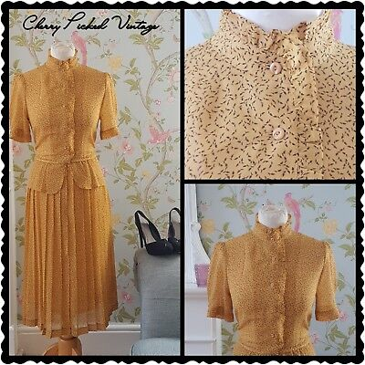 Vintage 80s Mustard Retro Ditsy Slim-Pleat Midi Dress Party WW2 Office Madmen 14