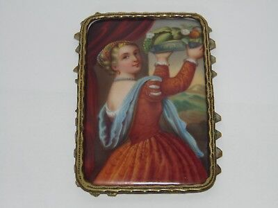 VERY PRETTY ANTIQUE 1800's PAINTED PORCELAIN PANEL of A BEAUTIFUL YOUNG LADY
