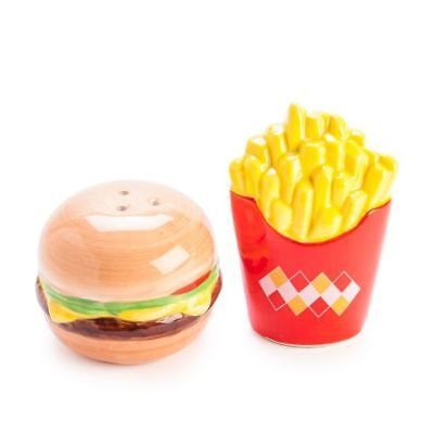 Ceramic Novelty Collectible Salt and Pepper Shakers Shaker Set Burger and Fries