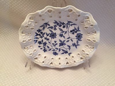 White Oval Dish with Blue Floral Pattern and cutouts by Home Interiors 2002