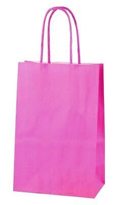 HOT PINK EXTRA SMALL PAPER PARTY BAGS WITH HANDLES GIFT BAGS  LOOT 14x21x8cm