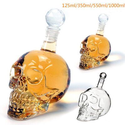 Creative Crystal Skull Head Decanter Wine Vodka Liquor Glass Bottle Holder