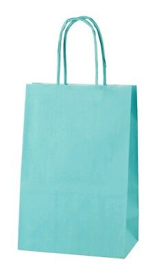 LIGHT BLUE EXTRA SMALL PAPER PARTY BAGS WITH HANDLES GIFT BAGS  LOOT 14x21x8cm