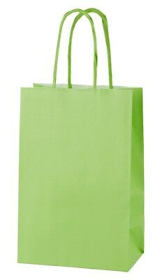LIGHT GREEN EXTRA SMALL PAPER PARTY BAGS WITH HANDLES GIFT BAGS  LOOT 14x21x8cm