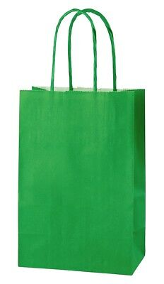 GREEN EXTRA SMALL PAPER PARTY BAGS WITH HANDLES GIFT BAGS  LOOT 14x21x8cm