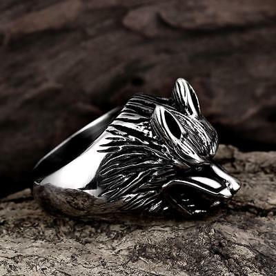 Valknut Odin /'s wolf Symbol of Norse Viking Warriors silver ring Punk Gothic