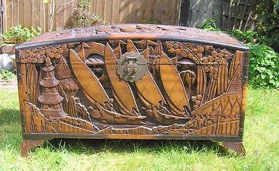 Large Oriental Chinese Heavily Carved Camphor Wood Blanket Box Chest Trunk Stora