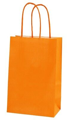 ORANGE EXTRA SMALL PAPER PARTY BAGS WITH HANDLES GIFT BAGS  LOOT 14x21x8cm