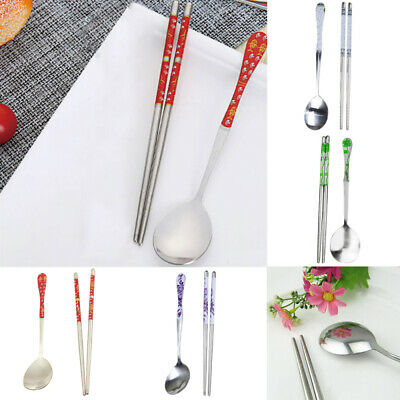 Japanese Flowers Stainless Steel Chopsticks Spoon Set Cutlery Tableware NO Box
