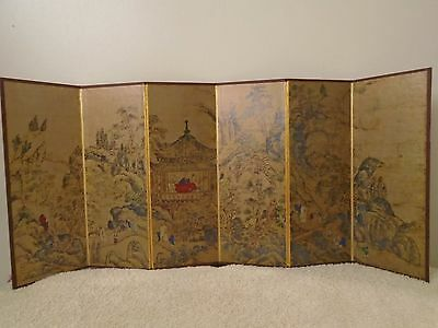 Vintage 8 3/8 Inch Mini Asian / Japanese Screen / Room Divider With 6 Panels