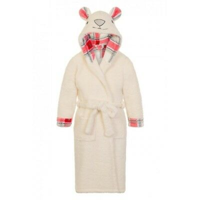 Girls Cream Fleece Bear Design Dressing Gown/Bathrobe/Nightwear Age 4-10 Years