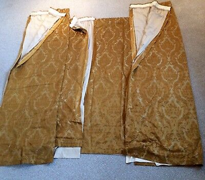Set Of 4 Truly VINTAGE Gold Brocade Style Lined Curtains