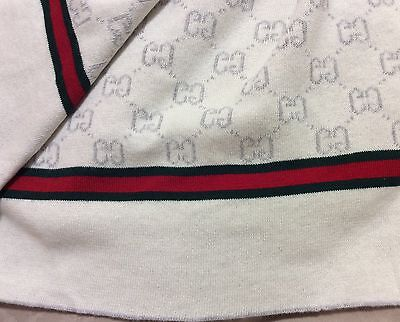 Gucci Baby Blanket NEW White and Grey No Tags