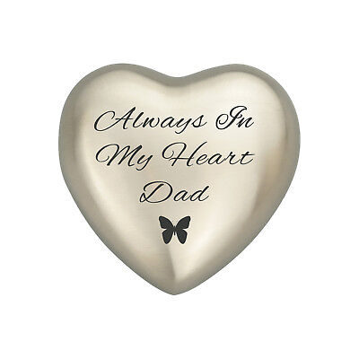 Always In My Heart Dad Silver Butterly Heart Urn Keepsake for Ashes Cremation