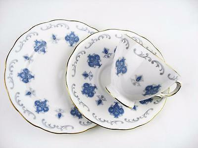 ROYAL OSBORNE 3 Blue white & gold trios Patt 8324 Fine Bone English China Ref E2