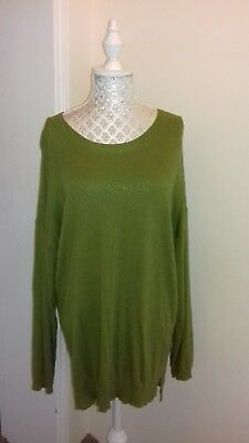 ladies m  & s collection green long length fine knit jumper size 16